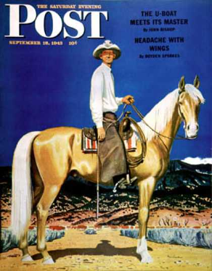 Saturday Evening Post - 1943-09-18: Cowboy on Palomino (Fred Ludekens)
