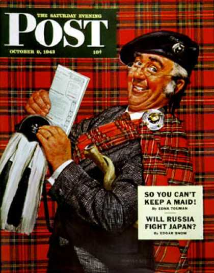 Saturday Evening Post - 1943-10-09: Scotsman with Savings Bonds (Howard Scott)