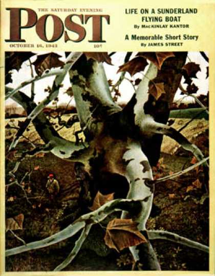 Saturday Evening Post - 1943-10-16: Sycamore Tree and Hunter (Andrew Wyeth)