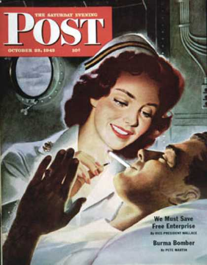 Saturday Evening Post - 1943-10-23: Lighting His Cigarette (Jon Whitcomb)