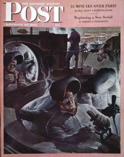 Saturday Evening Post - 1943-11-20: Tank Factory (Robert Riggs)