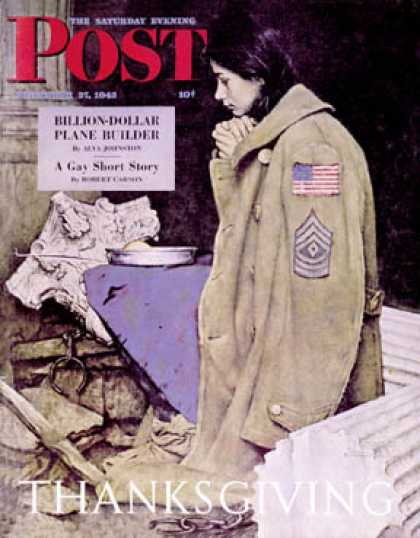 "Saturday Evening Post - 1943-11-27: ""Refugee Thanksgiving"" (Norman Rockwell)"