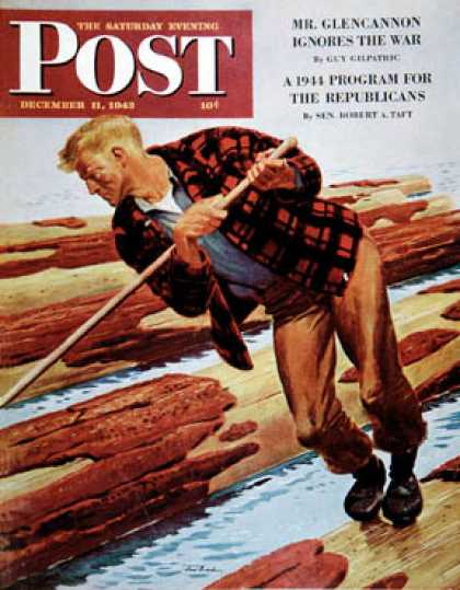 Saturday Evening Post - 1943-12-11: Log Rolling (Fred Ludekens)