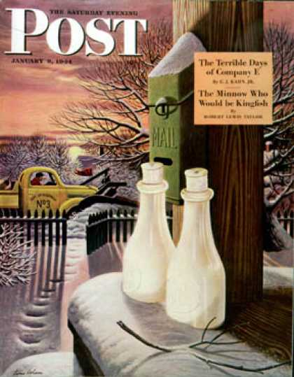 Saturday Evening Post - 1944-01-08: Frozen Milk (Stevan Dohanos)