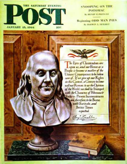 Saturday Evening Post - 1944-01-15: Ben Franklin, 1944 (John Atherton)
