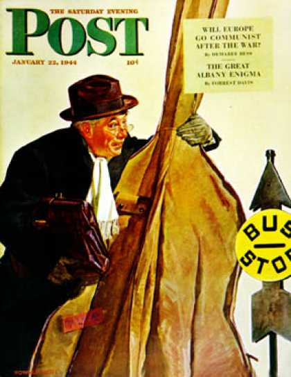 Saturday Evening Post - 1944-01-22: Bass Fiddle at Bus Stop (Howard Scott)