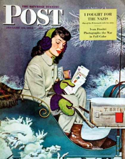Saturday Evening Post - 1944-01-29: Mail Delivery by Sleigh (Alex Ross)