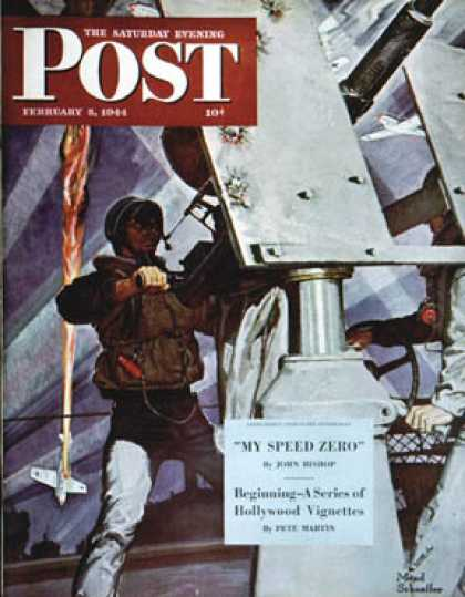 Saturday Evening Post - 1944-02-05: Anti-Aircraft (Mead Schaeffer)