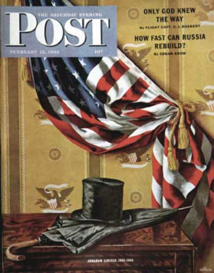 Saturday Evening Post - 1944-02-12: Commemorating Lincoln's Birthday (John Atherton)