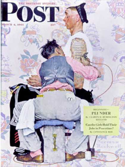 "Saturday Evening Post - 1944-03-04: ""Tattoo Artist"" (Norman Rockwell)"