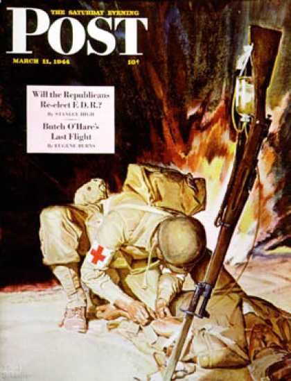 Saturday Evening Post - 1944-03-11: Medic Treating Injured in Field (Mead Schaeffer)