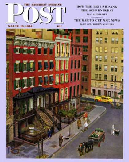Saturday Evening Post - 1944-03-25: Gramercy Park (John Falter)