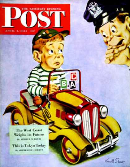 Saturday Evening Post - 1944-04-01: Kiddie Car With Rationing Stickers (Ken Stuart)