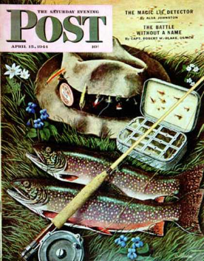 Saturday Evening Post - 1944-04-15: Fishing Still Life (John Atherton)