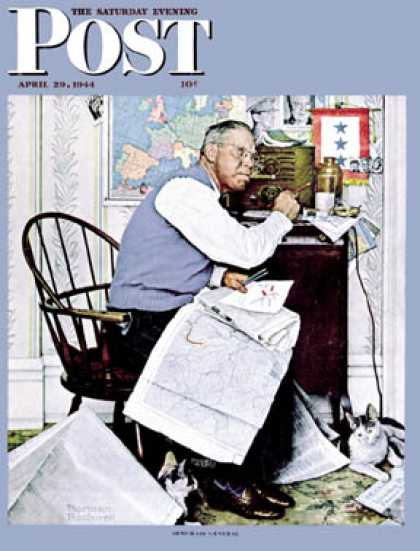 "Saturday Evening Post - 1944-04-29: ""Armchair General"" (Norman Rockwell)"