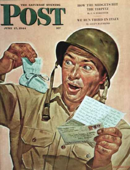 Saturday Evening Post - 1944-06-17: Baby Booties at Boot Camp (Howard Scott)
