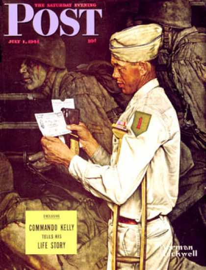 "Saturday Evening Post - 1944-07-01: ""War Bond"" (Norman Rockwell)"