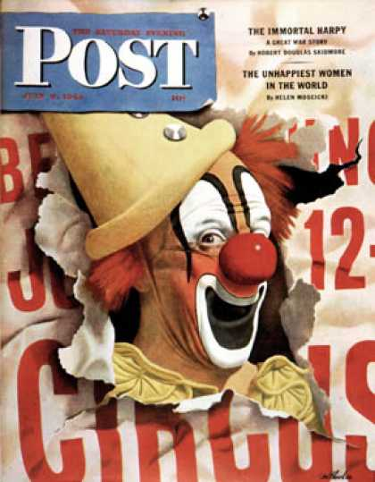 Saturday Evening Post - 1944-07-08: Circus Clown and Poster (John Atherton)