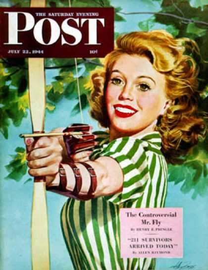 Saturday Evening Post - 1944-07-22: Woman Archer (Alex Ross)