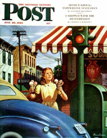 Saturday Evening Post - 1944-07-29: Dripping Cones (Stevan Dohanos)
