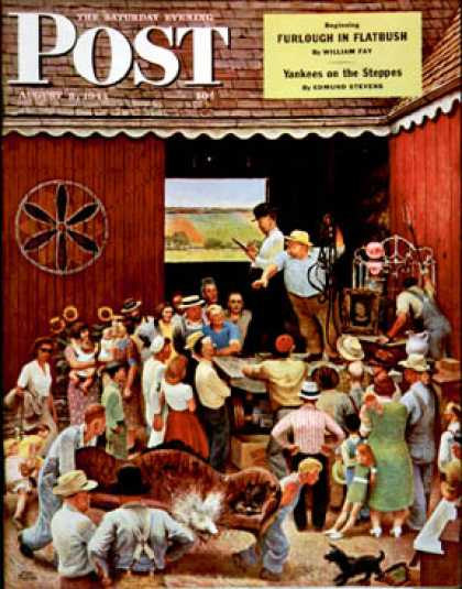 Saturday Evening Post - 1944-08-05: Country Auction (John Falter)