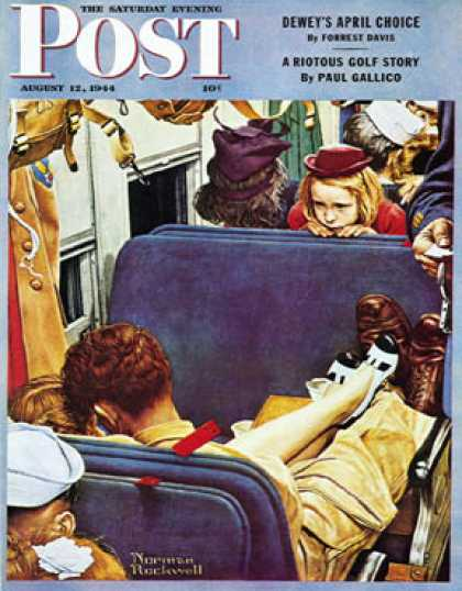 "Saturday Evening Post - 1944-08-12: ""Travel Experience"" (Norman Rockwell)"