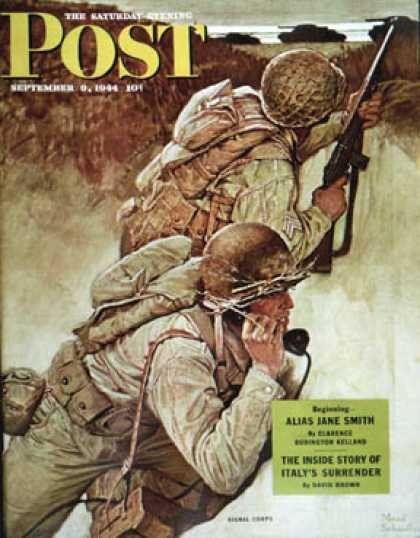 Saturday Evening Post - 1944-09-09: Signal Corpsmen During Battle (Mead Schaeffer)