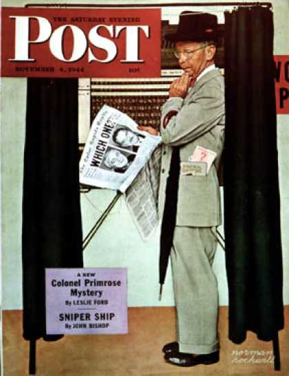 "Saturday Evening Post - 1944-11-04: ""Undecided"" (Norman Rockwell)"
