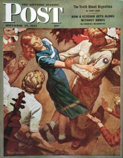 "Saturday Evening Post - 1944-11-25: ""Barn dance"" (Mead Schaeffer)"