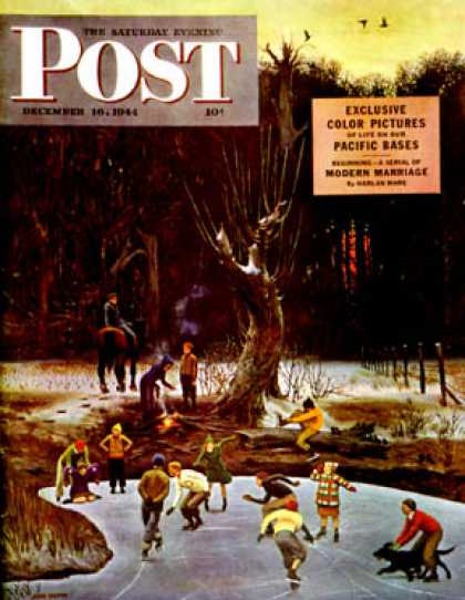Saturday Evening Post - 1944-12-16: Night Skating (John Falter)