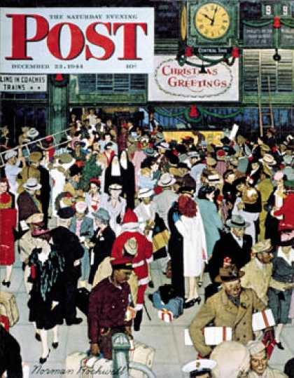 "Saturday Evening Post - 1944-12-23: ""Union Train Station, Chicago,   Christmas"" (Norman Rockwell)"