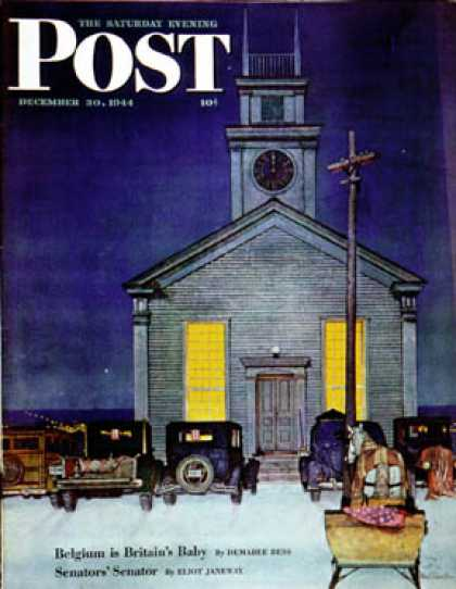 Saturday Evening Post - 1944-12-30: Rural Church at Night (Mead Schaeffer)