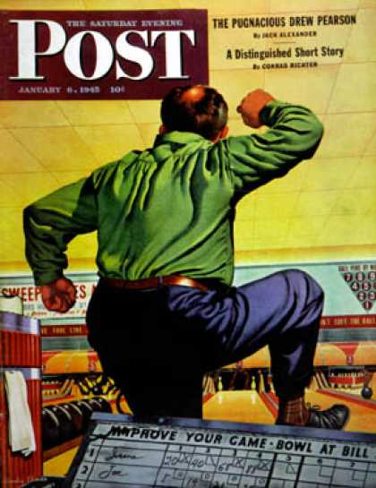 Saturday Evening Post - 1945-01-06: Bowling a Split (Stan Ekman)