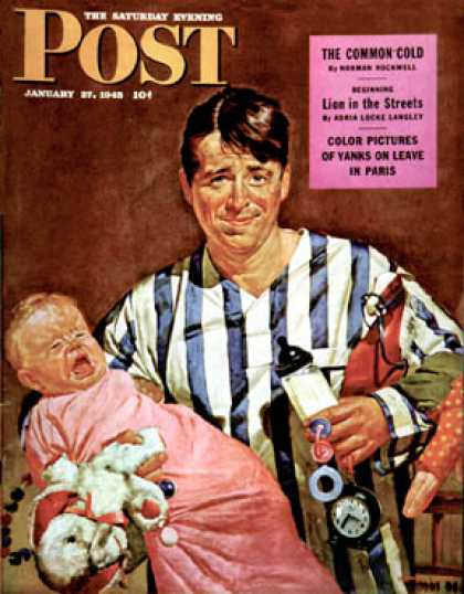 Saturday Evening Post - 1945-01-27: Early Morning Feeding (Howard Scott)