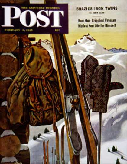 Saturday Evening Post - 1945-02-03: Ski Equipment Still Life (John Atherton)