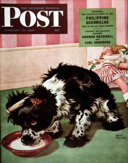 Saturday Evening Post - 1945-02-10: Clothespinned Butch (Albert Staehle)