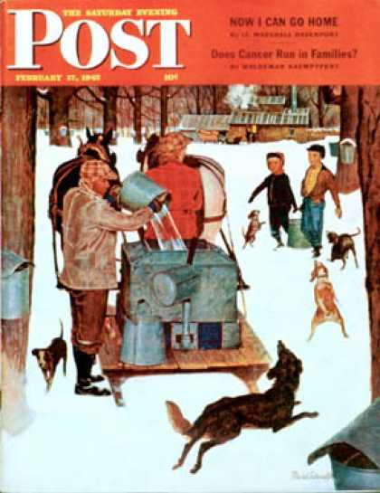 Saturday Evening Post - 1945-02-17: Maple Syrup Time in Vermont (Mead Schaeffer)
