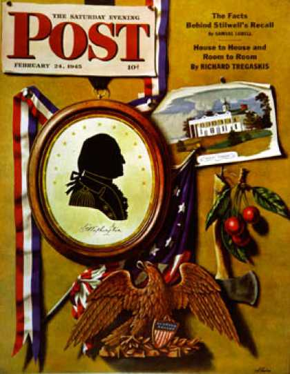 Saturday Evening Post - 1945-02-24: Commemorating George Washington (John Atherton)