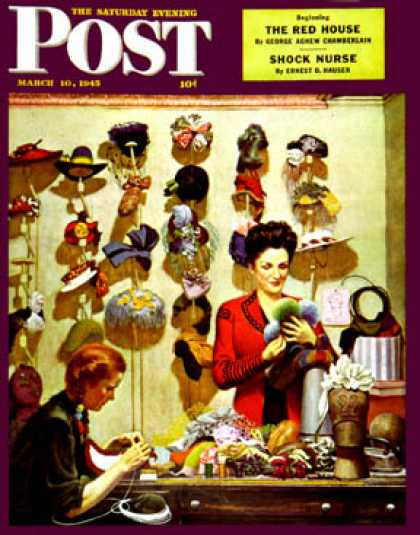 Saturday Evening Post - 1945-03-10: Millinery Shop (John Falter)