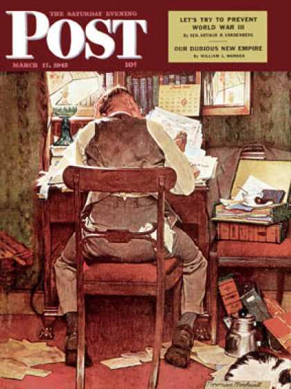 "Saturday Evening Post - 1945-03-17: ""It's Income Tax Time Again!"" (Norman Rockwell)"