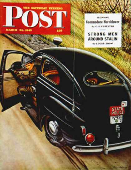 Saturday Evening Post - 1945-03-24: Policeman with Flat Tire (Stevan Dohanos)