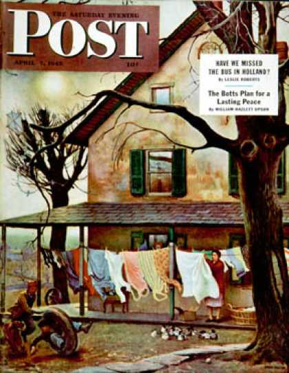 Saturday Evening Post - 1945-04-07: Hanging Clothes Out to Dry (John Falter)