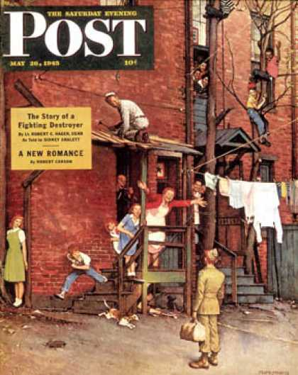 "Saturday Evening Post - 1945-05-26: ""Homecoming G.I."" (Norman Rockwell)"