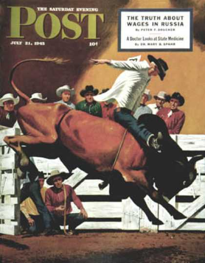 Saturday Evening Post - 1945-07-21: Bull Riding (Fred Ludekens)