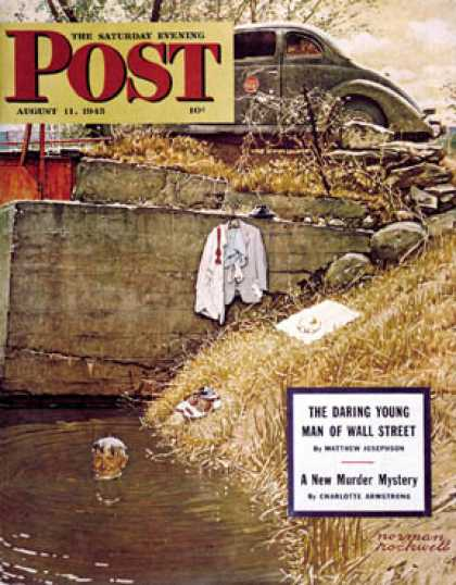 "Saturday Evening Post - 1945-08-11: ""Swimming Hole"" (Norman Rockwell)"