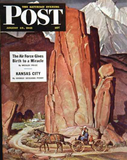 Saturday Evening Post - 1945-08-25: Sailor Comes Home to Mountain Ranch (Mead Schaeffer)
