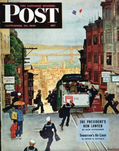 Saturday Evening Post - 1945-09-29: San Francisco Cable Car (Mead Schaeffer)