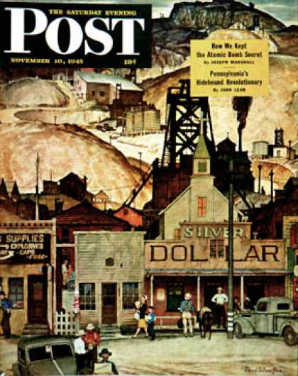 Saturday Evening Post - 1945-11-10: The Silver Dollar (Mead Schaeffer)