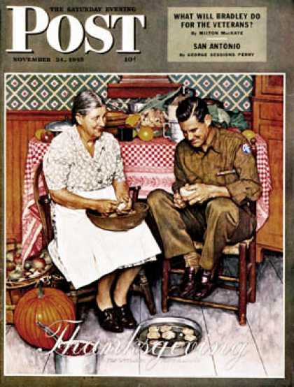"Saturday Evening Post - 1945-11-24: ""Home for Thanksgiving"" (Norman Rockwell)"