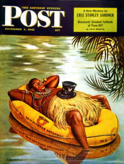 Saturday Evening Post - 1945-12-01: Native in Army Raft (Stevan Dohanos)